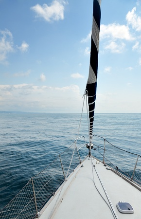 Bow of a sailing yacht. photo