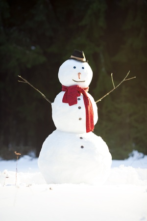 Traditional snowman wearing red scarf and black hat with carrot nose, sunny winter day in forest