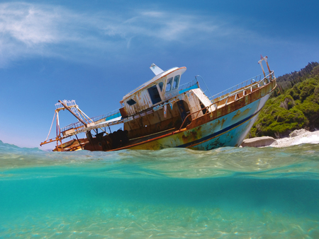 Partially submerged fishing vessel