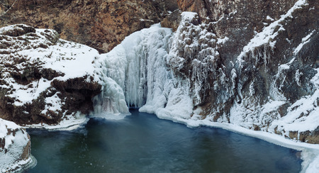 non urban: Panorama of frozen waterfall; Honey waterfalls near Kislovodsk, Russia