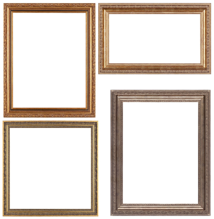 opulent: Set of opulent golden and classical picture frames for your individual content. Isolated on white.