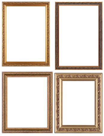 pictures: Set of opulent golden and classical picture frames for your individual content. Isolated on white.