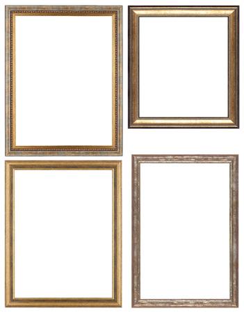 Set von opulenten goldenen und klassische Bilderrahmen für Ihre individuellen Inhalt. Isoliert auf weiß.