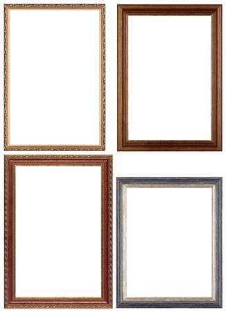Conjunto de marcos de oro y clásica opulenta Marcos para su contenido individual. Aislado en blanco. Foto de archivo