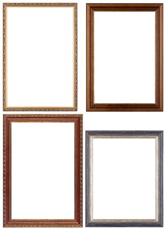 wooden frame: Set of opulent golden and classical picture frames for your individual content. Isolated on white.