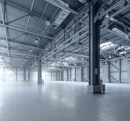 large: Interior of empty warehouse