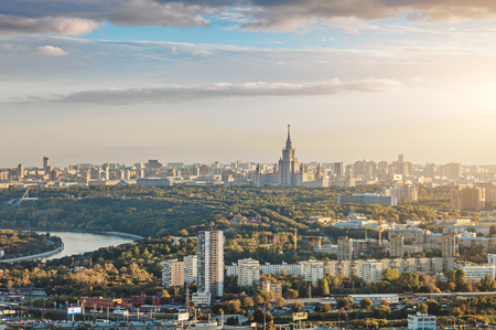 city panorama: Aerial view of Moscow city with the Lomonosov State University of Moscow and the Moskva river