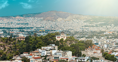 nymphs: Agia Marina or Saint Marina orthodox church and the National Observatory on the Hill of the Nymphs in Athens, Greece Stock Photo