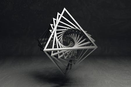 octahedron: Hollow octahedron flevitating on grey background Stock Photo