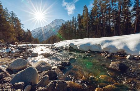 winter thaw: Baksan (Azau) river near mt. Elbrus, Kabardino-Balkaria, Russia