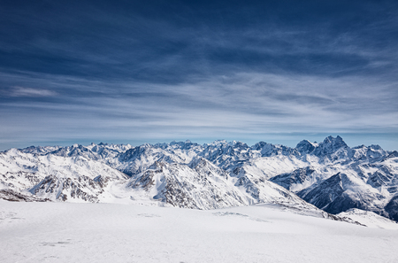 elbrus: View from the mount Elbrus, the northern Caucasus mountains, Russia Stock Photo