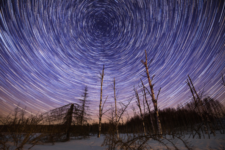 eternal: Winter starry night landscape with circle star trails