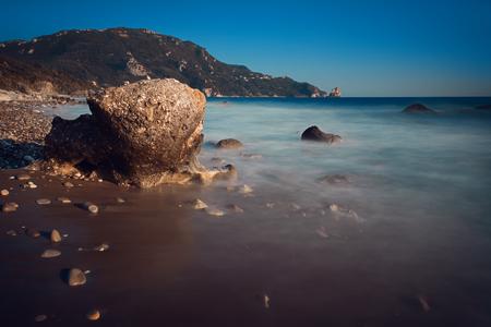 Rocky coast near Agios Gordios village, Corfu, Greece