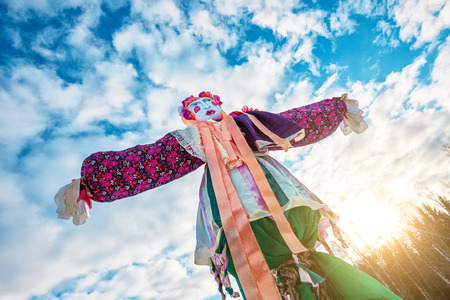 Doll for burning on Maslenitsa. Maslenitsa is russian traditional celebration held in the spring. Stock Photo