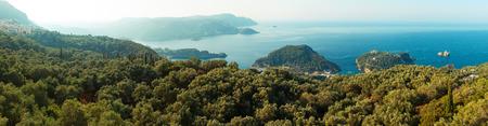 paleokastritsa: Panoramic view of Paleokastritsa in the morning, Corfu, Greece
