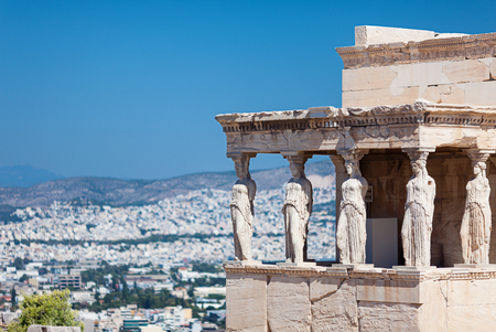 The Erechtheion. Porch of the Caryatids (Porch of the Maidens), Acropolis of Athens, Greece