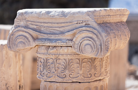 greek column: Beautiful detail of the antique greek column of the Ionic order, Acropolis of Athens, Greece