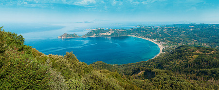Panoramic view on Ag. Georgios Pagon, Afionas, Corfu island, Greece