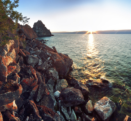 shamanism: Morning at Khuzhir, Olkhon island, Baikal Stock Photo