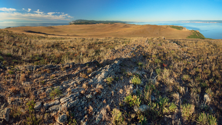 shamanism: Panoramic view of cape Khoboy, Olkhon island, Baikal Stock Photo