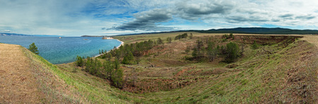 Panoramic view of coast on Olkhon island, lake Baikal.