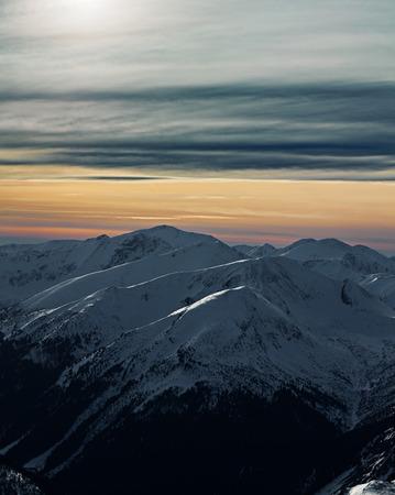 Winter dramatic landscape with sunset over Tatra Mountains, Zakopane, Poland