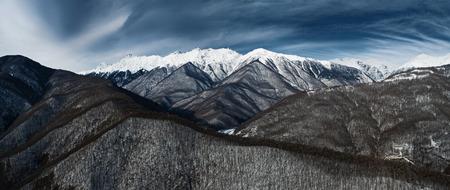 Astonishing panoramic aerial view on Caucasus mountains from Estosadok. Near Sochi  (Rosa Khutor alpine ski resort), Western Caucasus, Russia.