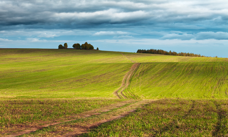 Rural landscape with gloomy sky over fields, hills and a countryside road at the beginning of autumn. Moscow region, Russia Stockfoto