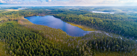 Aerial panoramic view of forests and lakes of Karelia region, Russia