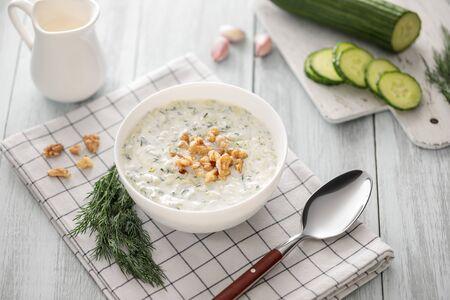 Tarator, bulgarian sour milk soup, and ingredients