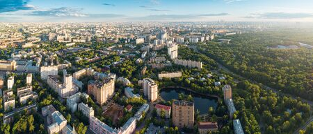 Aerial view of Moscow city over the Sokolniki district at summer sunset