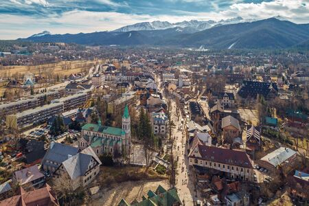 Aerial view of Zakopane and Tatry mountains at early spring, Poland