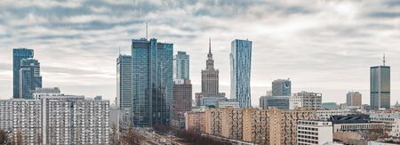 Panoramic view of Warsaw city center on a cloudy day