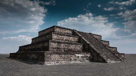 Dramatic landscape with the aztec pyramid, ancient city of Teotihuacan, Mexico