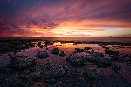 Panoramic landscape with rocky coast at sunset at San Ignacio Lagoon, Baja California, Mexico