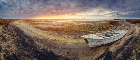 Panoramic landscape with low tide at sunset in San Ignacio Lagoon, Baja California, Mexico Фото со стока