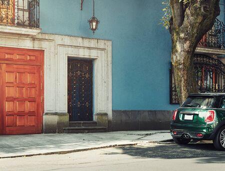 Quiet street of Mexico City on a sunny day, Coyoacan district Фото со стока