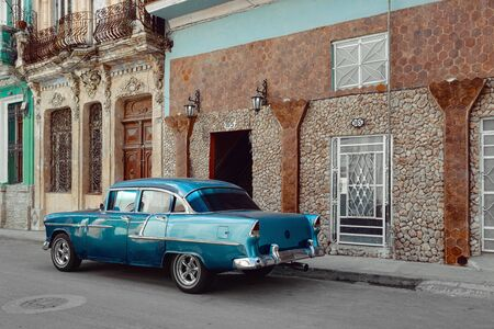 Vintage car parked on the street of Havana, Cuba