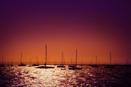 Silhouettes of yachts in the sea at sunset, La Paz, Mexico 免版税图像