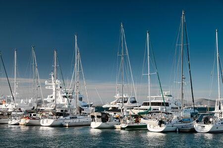 Close up of marina with moored yachts, La Paz, Mexico