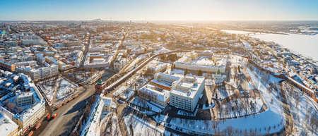 Aerial panoramic view of Nizhny Novgorod, Russia, on winter sunny day