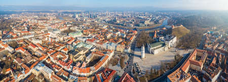 Aerial panoramic view of Vilnius old town, business district and river Neris, Lithuania Editorial