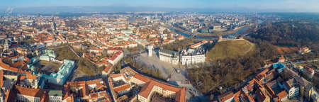 Aerial panoramic view of old town and distant modern part of Vilnius, Lithuania