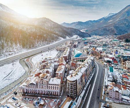 Aerial view of Estosadok settlement in valley under ski resorts of Sochi in Krasnodar Krai, Russia Editorial