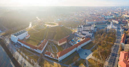 Aerial panoramic view of Vilnius old town, Gediminas Tower on the hill is on foreground, Lithuania