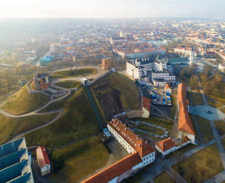 Aerial view of the Gediminas Hill, the Gediminas Castle Tower and Vilnius old town, Lithuania