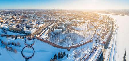 Aerial panoramic view of Nizhny Novgorod, Russia. Volga riverside, Kremlin and Chkalov Stairs view at winter. Editorial