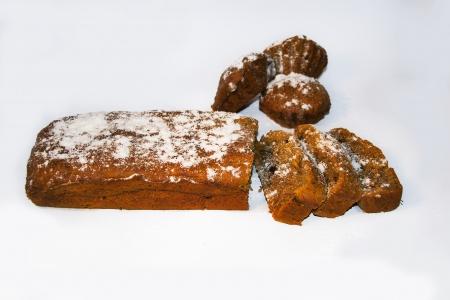 banana bread: Banana bread on the white background