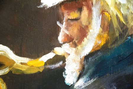 old man play on sax original oil painting on wood Foto de archivo