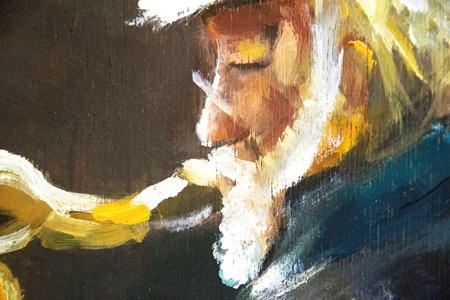 vieil homme jouer sur sax peinture à l'huile originale sur bois